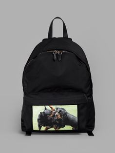 GIVENCHY BLACK ROTTWEILER BACKPACK   - BLACK - TOP HANDLE - ZIP CLOSURE - FRONT ZIPPED POCKET - ROTTWEILER PRINT - ADJUSTABLE SHOULDER STRAPS - HEIGHT: 19 CM - WIDTH: 42 CM - DEPTH: 12 CM - 90% NYLON - 10% ACRYLIC - MADE IN ROMANIA
