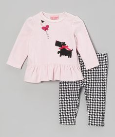 Take a look at this Pink Velour Tunic & Houndstooth Leggings - Infant by Carter's Watch the Wear on #zulily today!