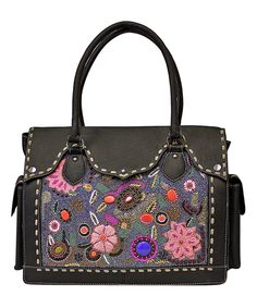 Another great find on #zulily! Black & Tan Floral-Embroidered Leather Messenger Bag by Vintage Addiction #zulilyfinds