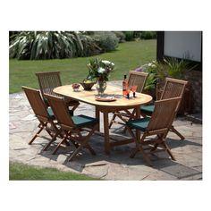 La Baule - 6 Seater Garden Dining Set - Oval Table, Folding Chairs - Teak 62% offer now £610.99