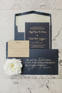 gold and black invitation | Elyse Hall Photography | Glamour & Grace