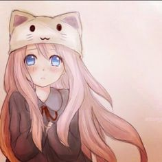 Anime girl with a cat hat