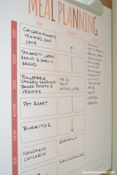 meal planning printable and calendar. Perfect idea for a busy family.