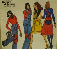 "Betsey Johnson Bib Overalls Pattern, Bib Skirt, Knee Patches, Patch Pockets, Alley Cat, Butterick No. 3847 Size 11/12 (Bust 32"" 81cm)"