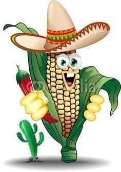 Cartoon Mexico Corn Cob-Vector © bluedarkat