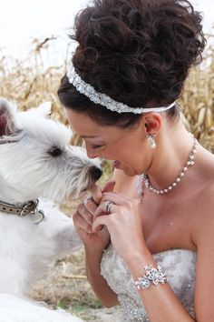 wedding day  the hair and bracelet...but more importantly how special is it to include your dog in your wedding photos <3