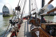 On deck Thames Barrier, Sailing Ships, Deck, Boat, London, Dinghy, Front Porches, Boats, Decks