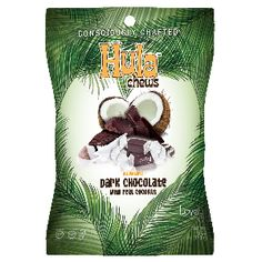 Lovely Candy Hula Chews A dark chocolate chewy candy surrounds a core of sweet coconut. Plus, each piece contains real pieces of coconut.