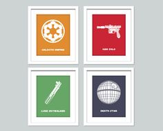 Star Wars Nursery Art  - Set of 4, 8x10 nursery poster - Star Wars Inspired Children's Wall Art, Playroom Decor.