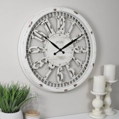 FirsTime & Co.® Whitney Farmhouse Wall Clock, American Crafted, Antique Cream, 20 x 2 x 20 in, (31043)