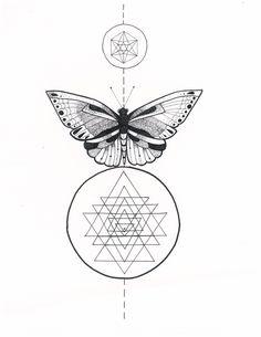 Micron Pen Illustration. Sacred Geometry Sri Yantra Butterfly