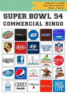 2020 Super Bowl 54 BINGO // 20 Commercial Bingo Cards Printable // Super Bowl LIV Party Game // 20 DIFFERENT cards - Welcome to our website, We hope you are satisfied with the content we offer. If there is a problem - Bingo Cards, Printable Cards, Super Bowl 54, Saints, Letter Size Paper, Memes, Bowls, Funny, Commercial