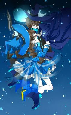 Wadanohara as the Blue Sea Witch and her father, the Great Sorcerer.
