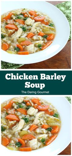 Incredibly flavorful and packed with nutrients, this wonderful Chicken Barley Soup recipe is sure to become a family favorite! Chili Recipes, Soup Recipes, Salad Recipes, Cooking Recipes, Barley Recipes, Dinner Recipes, Crockpot Recipes, Dinner Ideas, Healthy Soup