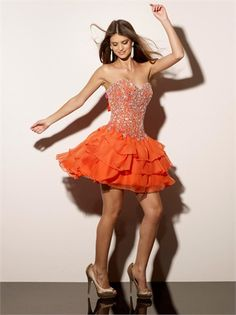 Short Strapless with Beadings and Ruffled skirt Lace up Chiffon Homecoming Dress HD1064 www.homecomingstore.com $132.0000