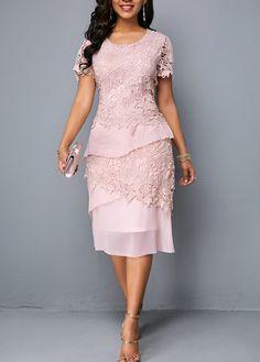 Zipper Back Round Neck Short Sleeve Lace Dress - Vestidos Belted Shirt Dress, Tee Dress, Bodycon Dress, Elegant Dresses, Sexy Dresses, Lace Dresses, Short Lace Dress, Dressy Dresses, Dress Lace