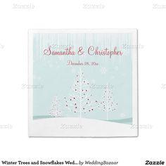 Winter Trees and Snowflakes Wedding Standard Cocktail Napkin @giftsbonanza