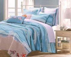 Coastal Seaside Cottage Quilt Set with Shams Sea Shell Print Pattern Ocean Blue 100 Cotton Luxury Reversible 3 Piece Double Full Queen Size Bedding - Includes Bed Sheet Straps * For more information, visit image link. (This is an affiliate link) Nautical Bedding Sets, Beach Bedding Sets, Coastal Bedding, Luxury Bedding, Comforter Sets, Coastal Quilts, Tropical Bedding, Coastal Decor, Nautical Quilt