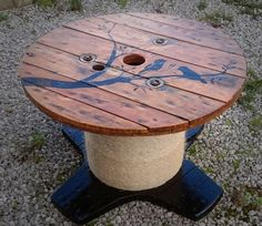 Cable Reel/Drum Table With Custom Design : 9 Steps (with Pictures) - Instructables Wood Spool Tables, Cable Spool Tables, Wooden Cable Spools, Wire Spool, Wooden Cable Reel, Cable Drum Table, Cable Spool Ideas, Driftwood Furniture, Diy Furniture