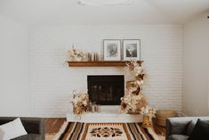minimalist wedding minimal boho elopement airbnb in-home in home florals flowers baskets rug fireplace styling Indie Couple, Minimalist Wedding, Bungalow, Minimalism, Cozy, Elopements, Florals, Baskets, Rug
