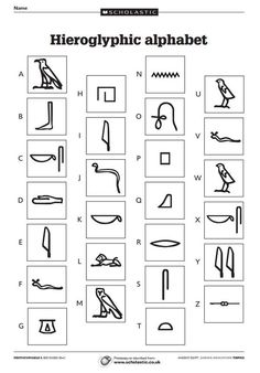 Three sheets including a hieroglyphic alphabet and code-cracking activities. Egyptian Crafts, Egyptian Party, Ancient Egypt Crafts, Ancient Egypt Activities, Ancient Egypt For Kids, Ancient Aliens, Ancient Greece, 6th Grade Social Studies, High School Art