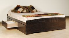 6 Drawer Platform Storage Bed in Espresso by Prepac Furniture