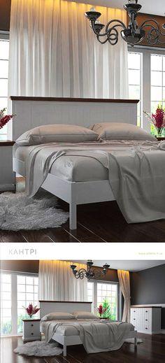 Деревянная белая кровать Кантри в комплекте с тумбой и комодом.  Wooden white furniture for bedroom Country