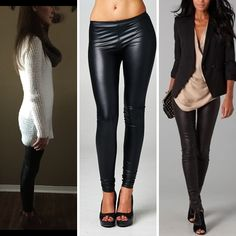 NEW ARRIVAL! (A Fall Must Have) Black Pleather Leggings - $22 with free ship! Comes in S to L, junior fit with lots of stretch Comment with email and state for invoice or shop online now!  *Photo on right is an outfit inspiration from Pinterest.