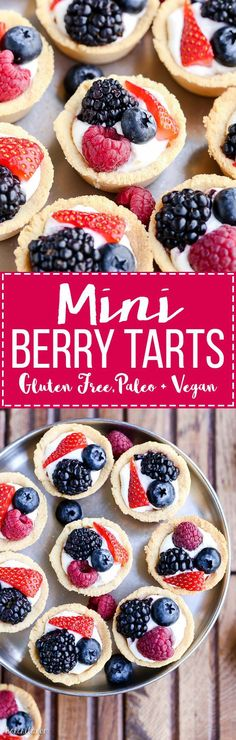 These Mini Berry Tarts have a shortbread crust with coconut cream filling and fresh berries! These sweet dessert bites are Paleo, gluten-free, and vegan. paleo dessert fruit