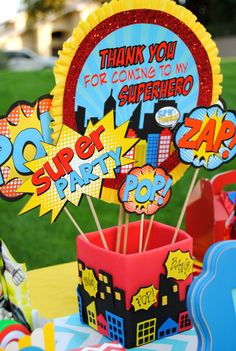 Items similar to SUPER HERO Party - Cityscape Centerpiece - Super Hero Birthday Party-Superheroes Party- Centerpiece Holder on Etsy Avengers Birthday, Superhero Birthday Party, 4th Birthday Parties, Birthday Ideas, Spider Man Party, Comic Book Parties, Comic Party, Avenger Party, Superman Party