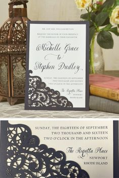 Laser Lace Wedding Invitation | Use this laser cut lace slide-in card to easily add elegance to your DIY Wedding Invitations for cheap | See all styles at: http://www.cardsandpockets.com/slide-in-cards.aspx #weddinginvitation
