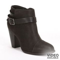 Womens-LC-Lauren-Conrad-Farren-Tan-Black-Buckle-Stacked-Heel-Ankle-Boots
