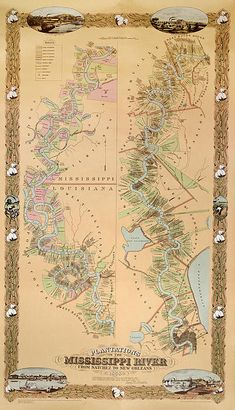 1858 Map of plantations along the Mississippi River