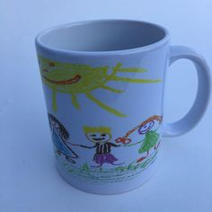 Child's art work on a mug, 11 oz, child design mug, kid design mug, childhood memories, mothers day by RAmysCraftRoom on Etsy