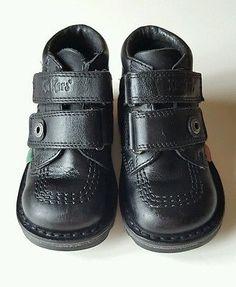 Kickers Kick Hi Black Leather Toddler Strap Velcro Ankle Boots Size Infant 7 UK