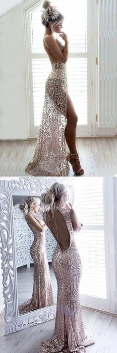 Outstanding open back formal, with sass! memorable, glitter adorned, show off your gams gown