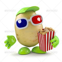 3d Potato eays popcorn at the movies ...  3d, 3d glasses, agriculture, carbohydrate, cartoon, character, chips, cinema, crop, cute, diet, dinner, entertainment, food, fresh, fries, funny, healthy, illustration, ingredient, isolated, movie, nature, nutrition, organic, popcorn, potato, raw, root, vegetable, vegetarian, white