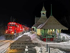 Train...at depot...at night...in the snow