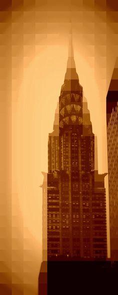 Chrysler Building - Pixels - Print For Sale http://www.redbubble.com/people/amandavontobel/works/9038045-chrysler-building-pixels