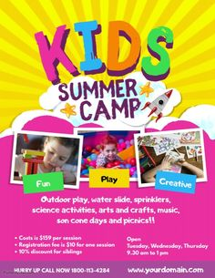 Copy of Kids Summer Camp Poster Flyer Template Summer Camps For Kids, Camping With Kids, Summer Kids, Kids Camp, School Posters, Classroom Posters, Flyer Template, Poster Templates, Summer Poster