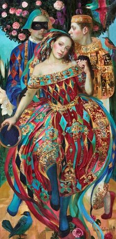 The Love Triangle -  Olga Suvorova I love this!! Gives me ideas for a painting with designs in the clothing