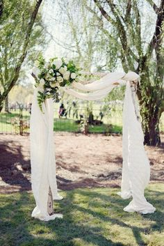 outdoor wedding ceremony via Alea Moore / http://www.himisspuff.com/wedding-arches-wedding-canopies/5/