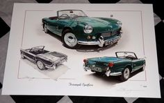 TRIUMPH SPITFIRE 4 Mk.1 1962 - 1964 LIMITED EDITION PAINTING PRINT ARTWORK NEW Triumph 2000, Triumph Motor, Triumph Tr3, Triumph Spitfire, Artwork Prints, Painting Prints, 1964 Ford, Car Colors, Mk1