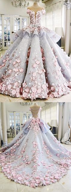 Dress with flowers Pretty Flowers Quinceanera Dresses, Ball Gown Long Backless Wedding Gowns . Blue Ball Gowns, Ball Gowns Prom, Ball Dresses, Bridal Dresses, Party Dresses, Dresses Dresses, Backless Wedding, Cheap Wedding Dress, Wedding Dress Styles