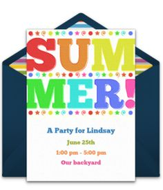 Customizable, free Summer online invitations. Easy to personalize and send for a party. #punchbowl