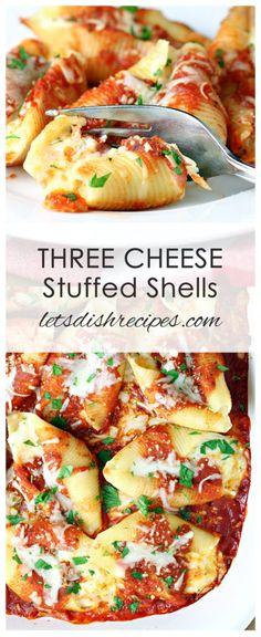 Three Cheese Stuffed Shells Recipe: Jumbo pasta shells stuffed with three cheeses and seasonings, then baked in your favorite marinara sauce. #pasta #cheese