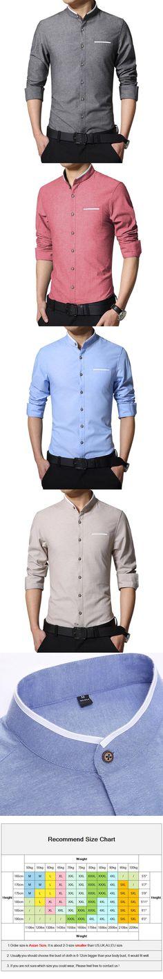 New Fashion Casual Mens Shirt Long Sleeve Mandarin Collar Slim Fit Shirt Men Korean Business Mens Dress Shirts Men Clothes M-5XL