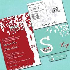 Love These Colors Red Aqua Chrysanthemum Free Wedding Invitation