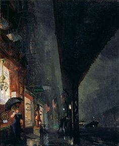 Wet Night on the Bowery, c. 1911 by John Sloan