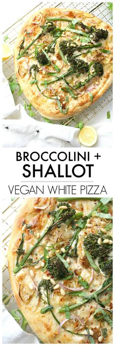 Restaurant-quality pizza with easy to find ingredients - this Broccolini & Shallot Vegan White Pizza is loaded with seasoned white sauce, crispy shallots and perfectly cooked broccolini   ThisSavoryVegan.com #vegan #veganpizza